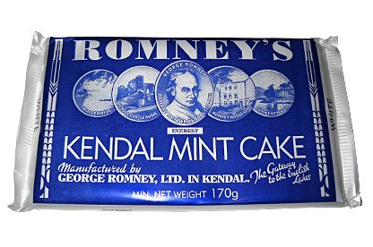 ROMNEYS KENDAL MINT CAKE (WHITE) 170G.  Made in England.