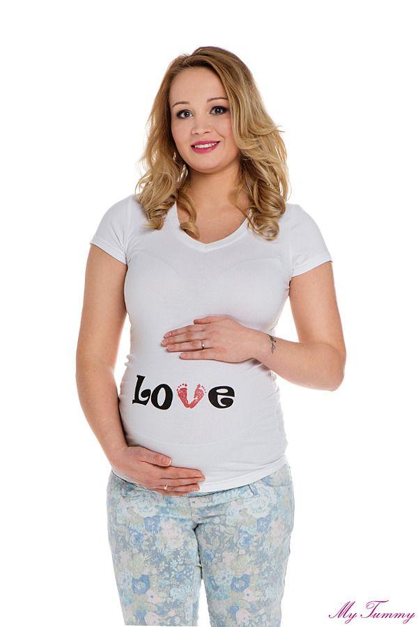 T-shirt ciążowy Love stópki biały