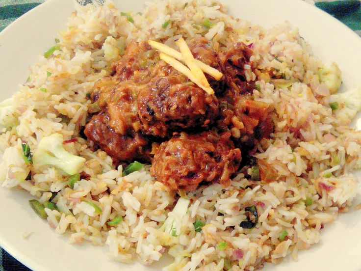 Veg Manchurian Fried Rice - manchurian with Fried rice -Indo chinese Rec...