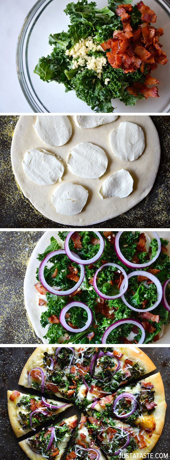 Garlicky Kale and Bacon Pizza from justataste.com #recipe #pizza