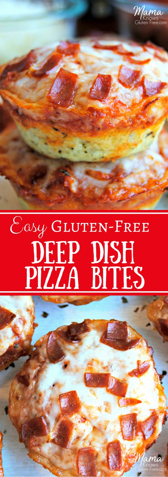 Gluten-free deep dish pizza bites are super easy to make. Perfect for lunch, a quick and easy dinner, as a snack or an appetizer for game-day or your next party.