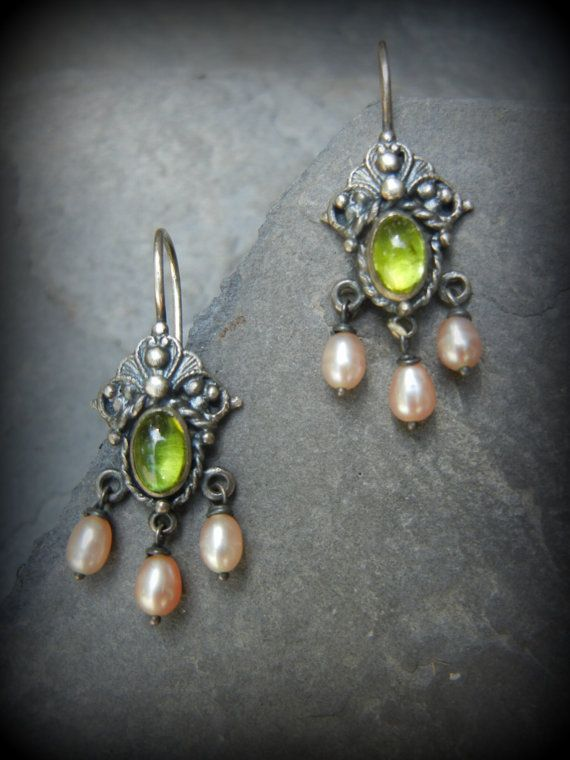 Isabella Earring, Peridot, Pink Freshwater Pearls Delicate Sterling Dangle, Ear Wires, Antiqued SS, Peridot is the Birthstone of August