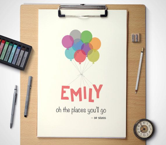 Oh the places you will go... By #InYourName #nurseryprints #newbabyprints #drseuss #personalisedprints Available at: https://www.etsy.com/listing/225729781/printable-nursery-art-personalised-name