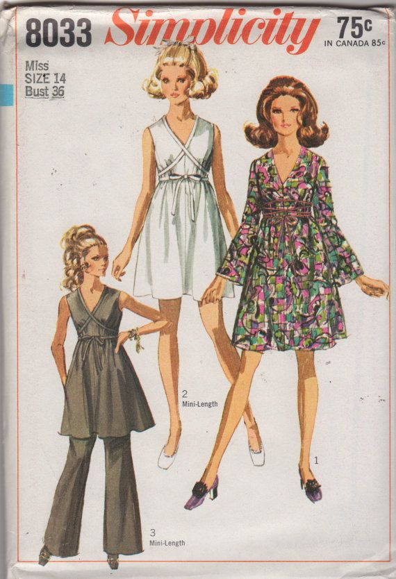 Simplicity 8033 1960s V Neck Bell Sleeve Misses Mini by mbchills