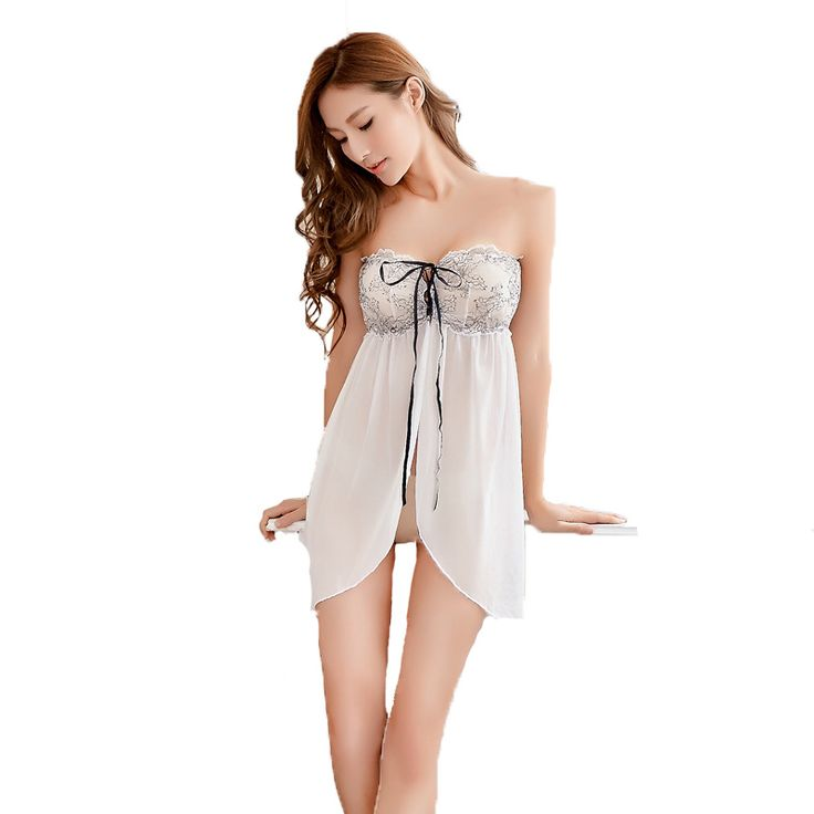 Fasbys Women Sexy White Off The Shoulder Slash Neck Wrap Chest Bandage See Through Dress Nightgowns Backless Petite Sleepwear