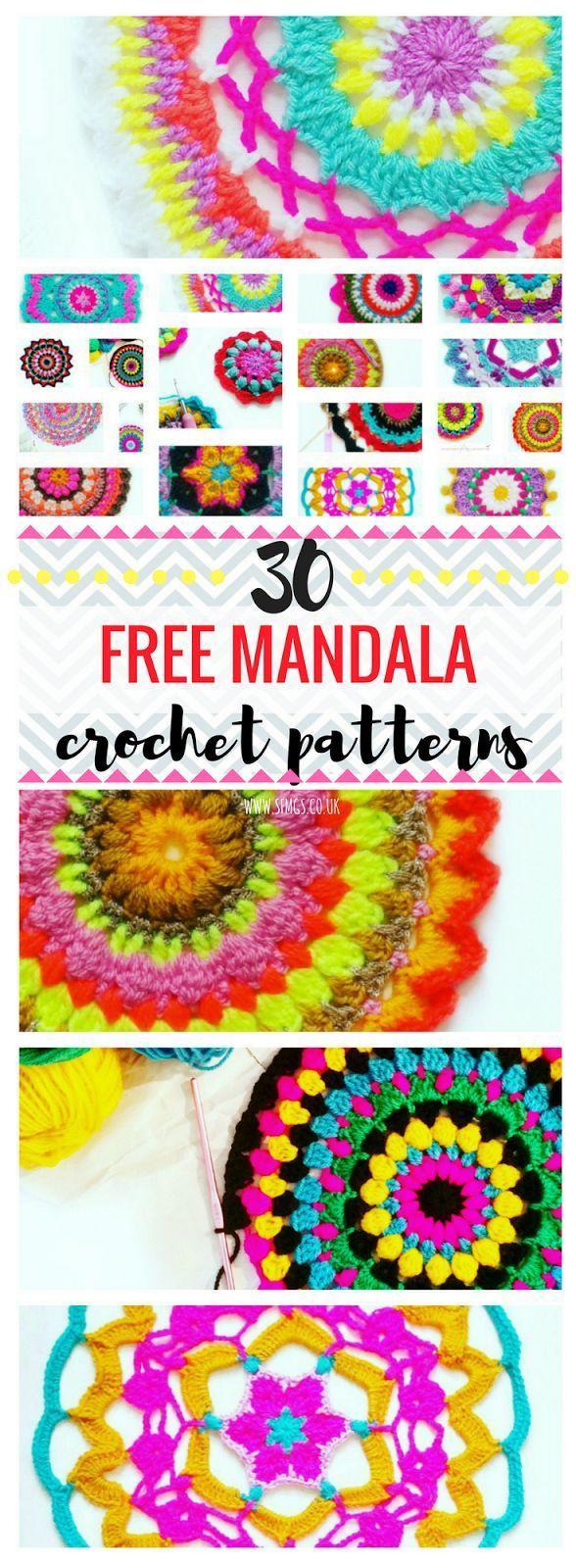 30 Free Mandala Patterns   Free Crochet Pattern - 30 free bright, bohemian mandalas to crochet... A round-up of SFMGS Mandala Monday free crochet patterns so far.
