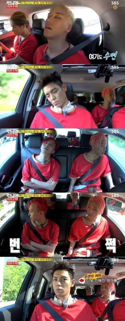 Big Bang on Running Man...exhausted after the first round <3