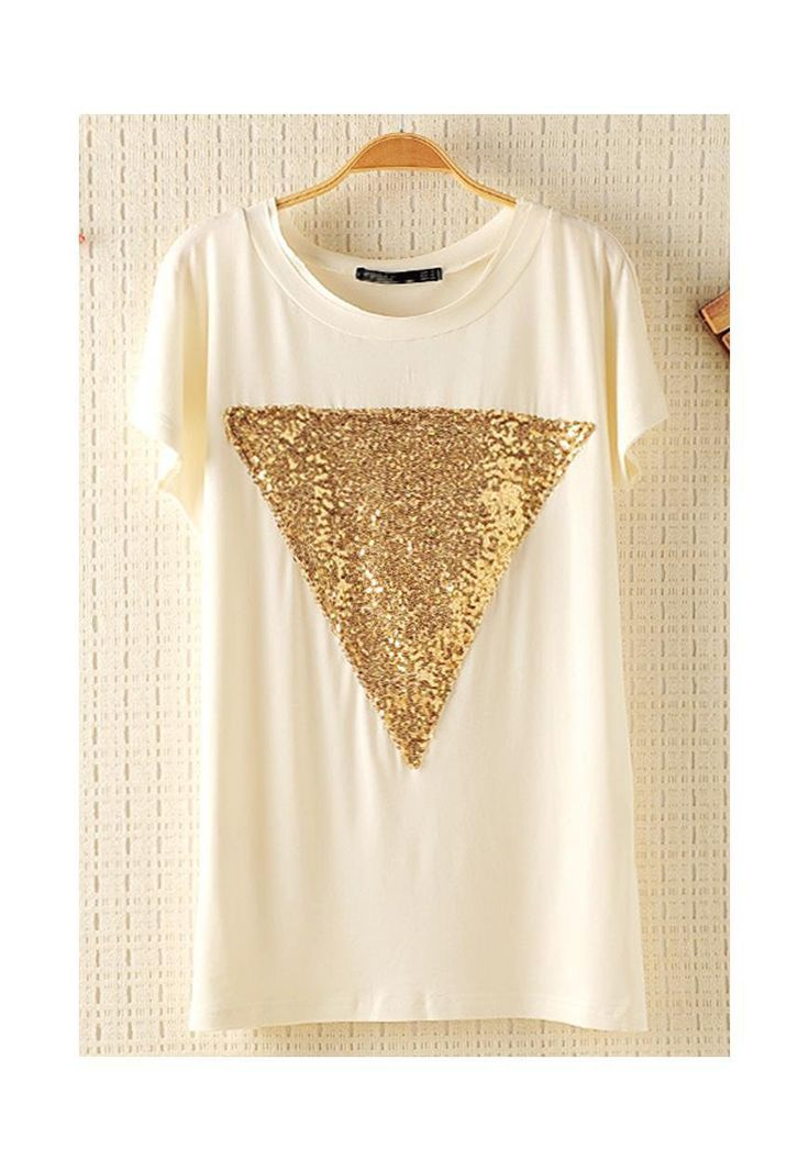 DIY triangle pailleté sur T-shirt en jersey, cool non ?!