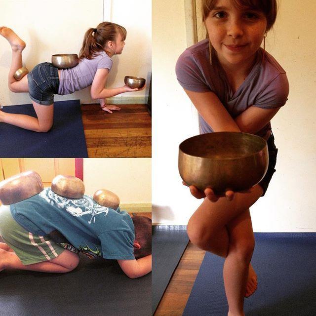 Singing bowl fun. Song-asana. #yogaclass #fun #singingbowl #yoga #practise #asana #kidsyoga #yogakids #eaglepose #childspose #yogi #yogini #holidays #backtoyogaschool #happy #sounds #yogaeverywhere