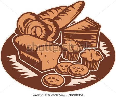 vector retro style illustration of pastry products showing loaf of bread,muffin,slice of cake,cookies,donuts done in retro style - stock vector #breadandpastry #retro #illustration