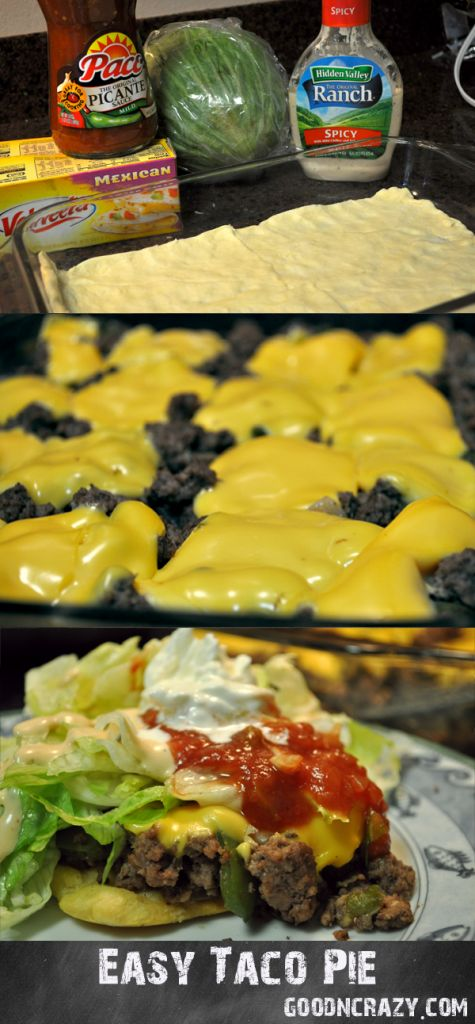 easy taco pie by goodncrazy with velveeta Kid friendly and fast dinner meal