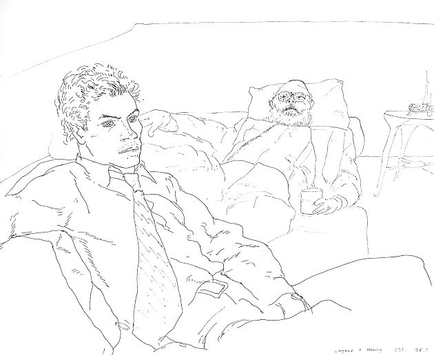 David Hockney line drawings