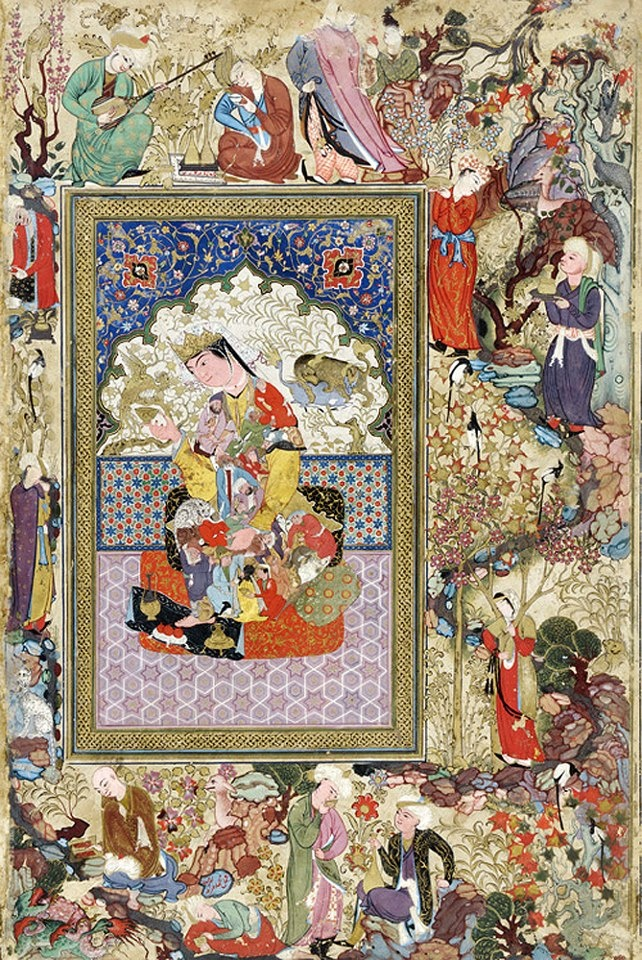 Muhammad Charif Musavvir The reader C. 1600-1630 Bukhara, Gouache and gold on paper H. 19.2 cm; W. 11.4 cm Page: H. 37 cm; W. 24.4 cm