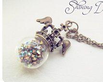 Diamanten globe ketting Orb ketting, glas orb ketting, strass hanger, glazen fles ketting, hanger van de kroon, gevleugelde kroon ketting