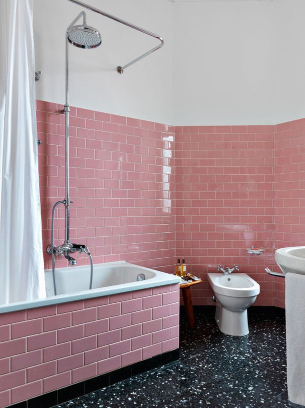 Pink Bathroom.... Love The Subway Tile!