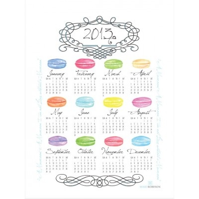 Macaroon Tea Towel Calendar - almost to pretty to use when cleaning up kitchen spills!