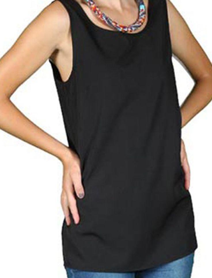 Bluza neagra lejera  Vero Moda Bluze Bluza fara maneci Vero Moda  cu aspect lejer, culoare negru, 100% poliester