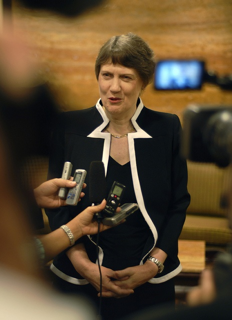 Former New Zealand Prime Minister Helen Clark heads the United Nations Development Programme (UNDP), making her the third-highest ranking person at the UN. She is pictured here speaking to reporters in Lao PDR, October 2010. www.undp.org   PHOTO: UNDP