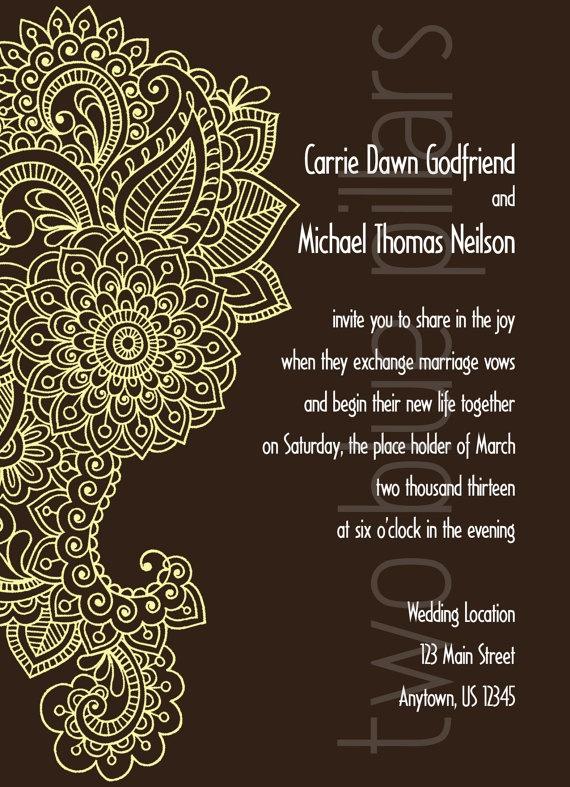 Mehndi Party Invitation Wording : Paisly flourish wedding invitations chocolate tattoo