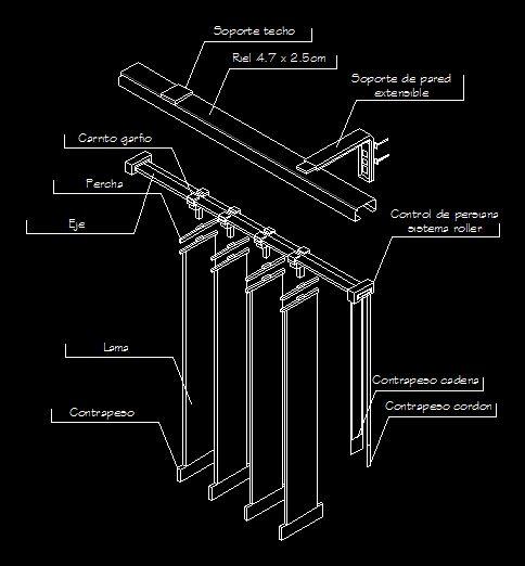 Detalle de persiana vertical (dwgDibujo de Autocad)