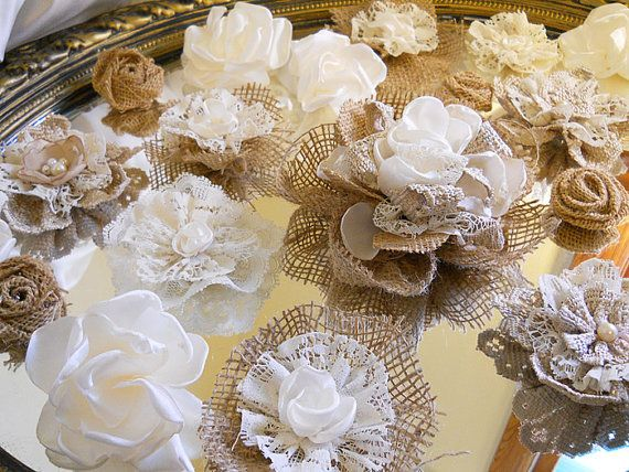 Set of 20 Handmade Natural Burlap & Ivory Lace Flowers for weddings, bouquet making, wedding decor, cake toppers, on Etsy, $30.00