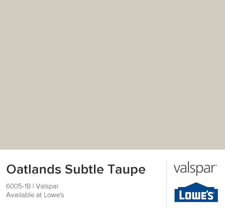 Best paint color ever! Shows as both tan & gray. Goes with anything! Valspar Paint - Color Chip - Oatlands Subtle Taupe