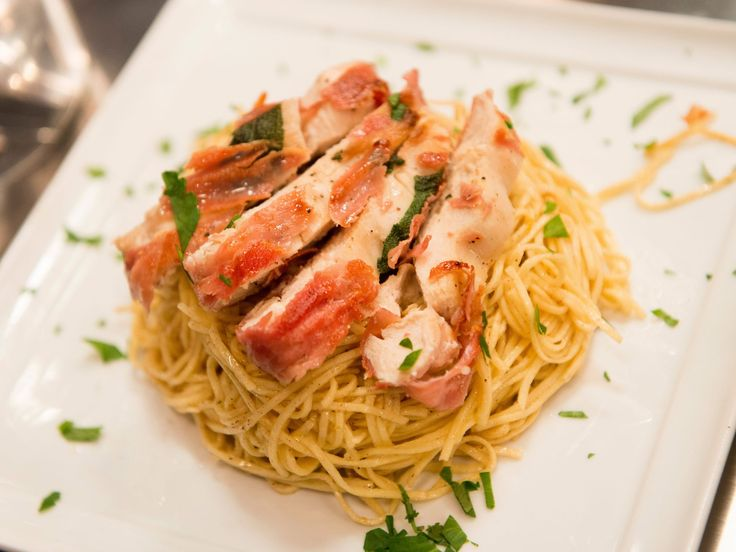 Chicken Saltimbocca with Brown Butter Angel Hair Pasta recipe from Stacey Poon-Kinney via Food Network