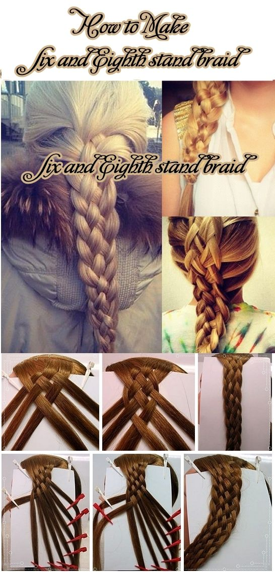 Learn how to make Six and Eighth stand braid. One day my hair will be long enough to accomplish this.
