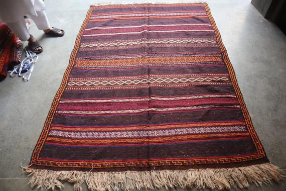 5 x 7 FT Vintage Full Sumak Tribal Qalaty kilim Rug,Natural Dye Qalaino Afghan Kilim Rug,Beautiful W