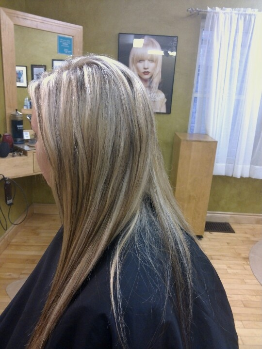 Light blonde highlights with warm blonde and dark brown ...