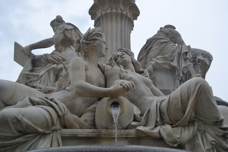 Allegorical depictions of the rivers Elbe (left) and Vltava (right), Pallas Athena Fountain, Austrian Parliament, Vienna, Austria