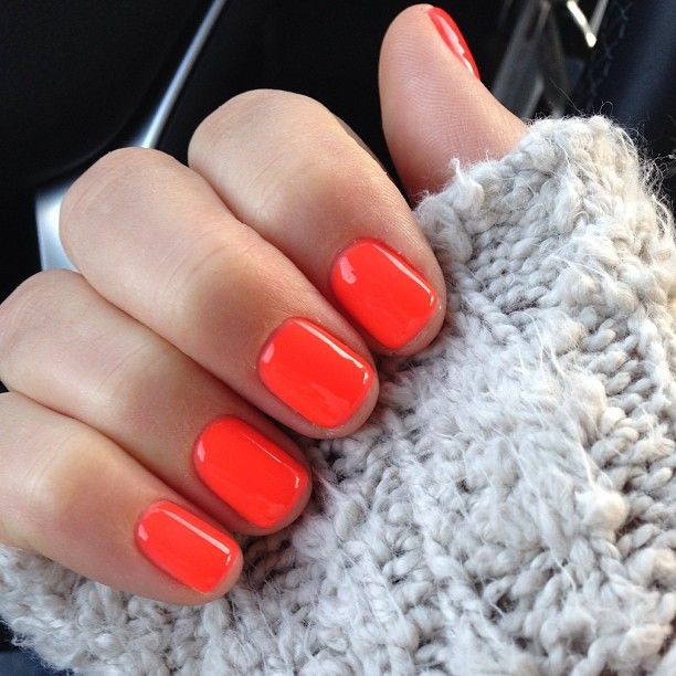 love this color // orange-red nail polish