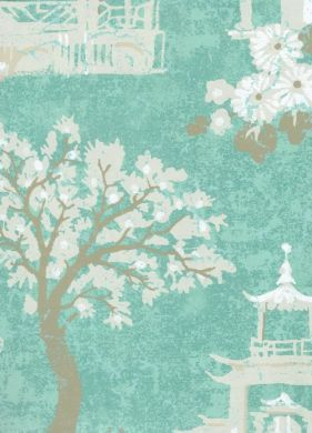 WALLPAPER - TOILES/SCENES - Oriental Toile Aqua Wallpaper - Browse Animal Print Wallpaper and Clearance Wallpaper Styles Here