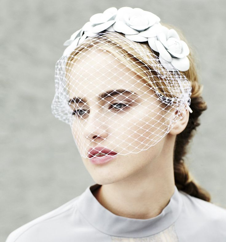 5Hand-pressed leather camellia flowers adorn a silk ribbon wrapped skinny. #Headband with matching #FrenchVeiling voilette. This luxurious, feminine but edgy #headpiece is the perfect addition to cocktail & summer party attire.
