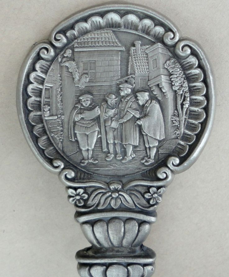 SKS Germany Zinn Pewter #Spoon Town Crier Medieval Embossed 7in #SKSSchefferKlute