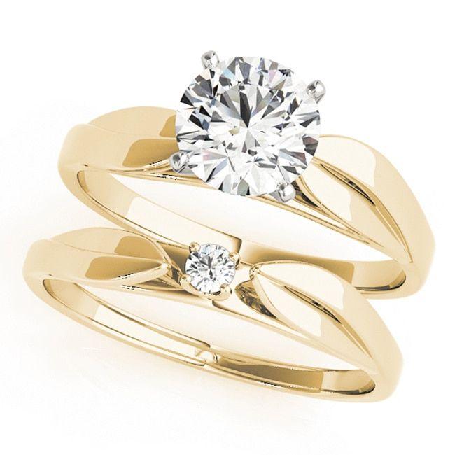 Scintilenora Curved Solitaire GIA Certified Diamond Bridal Wedding Set 18k Gold 1 1/2 TDW