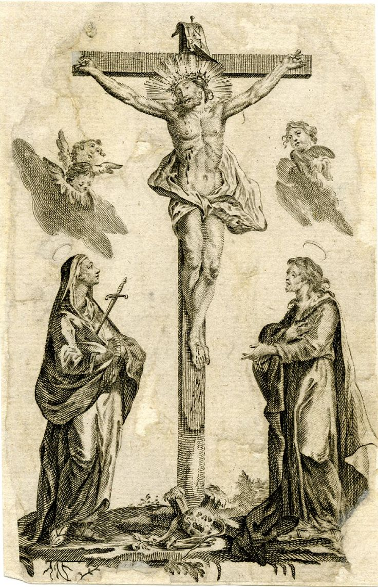 Christ crucified with the Virgin to left and St John the Evangelist to right.1750s  Engraving with etching