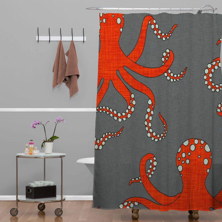 Holli Zollinger Octopus Red Shower Curtain | DENY Designs Home Accessories