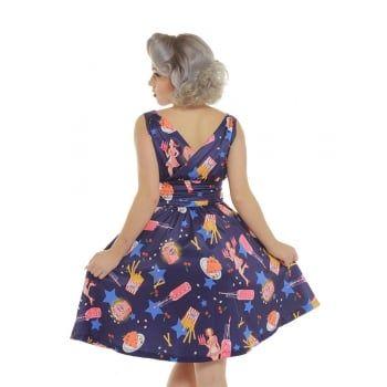 Harper' Purple Pop Diner Print Swing Dress