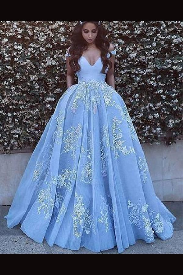 Cheap Fetching Prom Dresses A-Line, Evening Dresses Blue, 2019 Prom Dresses, Appliques Evening Dresses