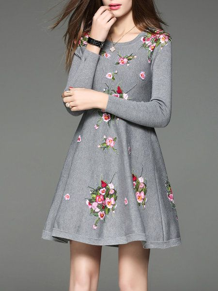 Gray Floral Embroidered A-line Vintage Sweater Dress