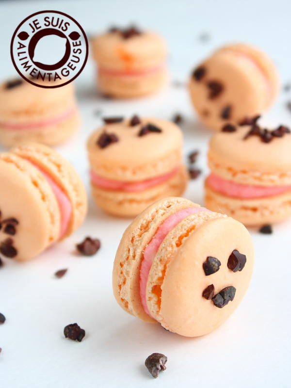Blood Orange Macarons with Cacao Nibs. So pretty...I need to make some of these!