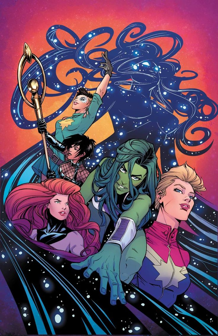 A-Force #2 variant cover by Joelle Jones. Singularity, Dazzler, Nico Minoru, Medusa, She-Hulk, and Captain Marvel.                                                                                                                                                      More