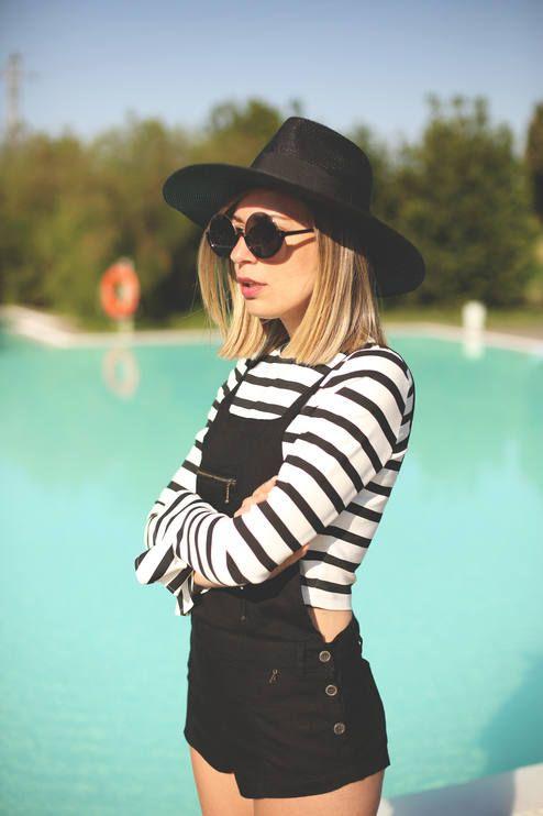 Nine Lives Black Side Button Up Short Overall, striped shirt