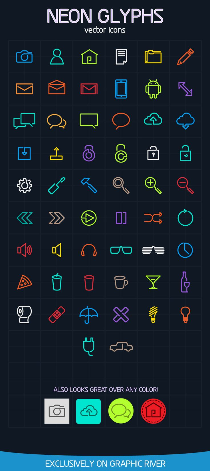 Neon Glyphs Vector Icons - Icon - Creattica