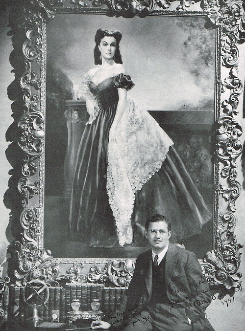 David O'Selznick with the portrait of Vivien Leigh as Scarlett O'Hara