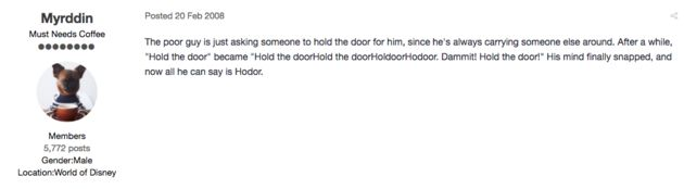This Person Predicted The Meaning Of 'Hodor' 8 Long Years Ago