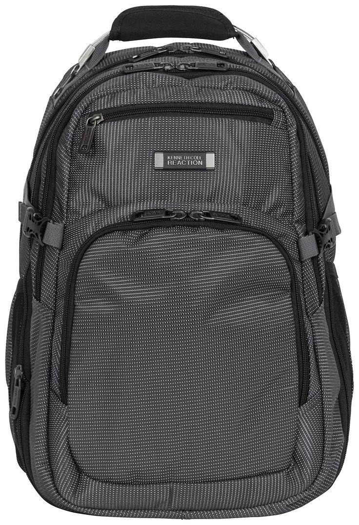 Kenneth Cole Reaction On A Fast Pack, Charcoal, One Size. Nylon expandable double gusset 15.6 inch computer backpack. RFID blocking pocket for identity protection. Expandable for added carrying capacity. Holds most laptops with up to 15.6 inch screens. Padded tablet pocket holds most tablets. Two-tone nylon exterior body material with fully lined exterior. Front face includes zippered stash pocket lined with protective brushed polyester and small gusseted pocket with organizer. Front...
