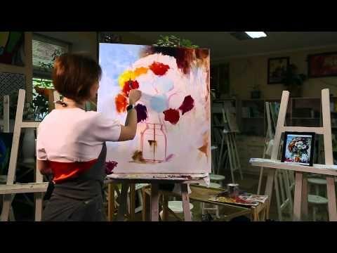 МАСТЕР - КЛАСС ЖИВОПИСИ. НАТЮРМОРТ ЦВЕТЫ МАСТИХИНОМ / Lesson oil painting - YouTube