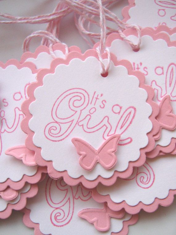 It's a Girl Baby Gift Tags Pink and White Baby by CharonelDesigns, $5.95